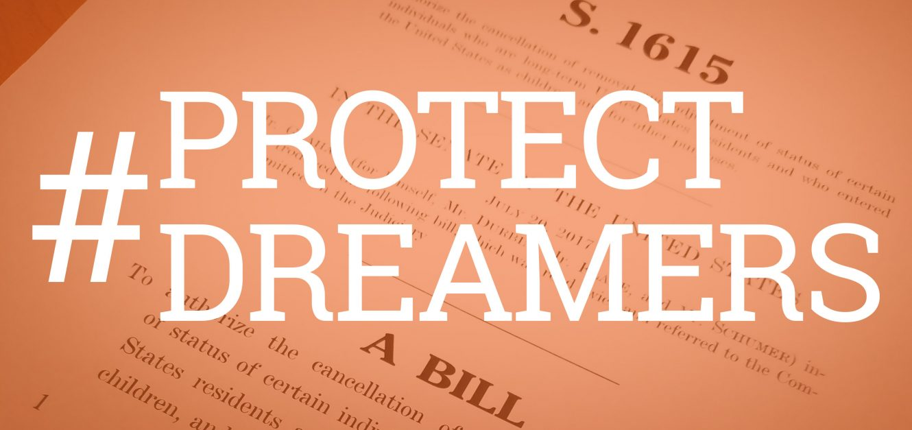 Dream Act Bill with overlay of hashtag protect dreamers