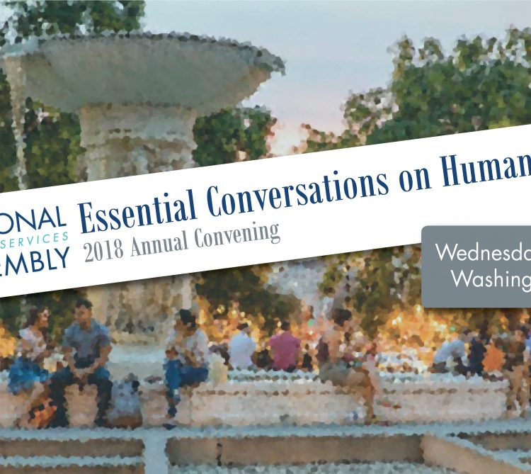 Essential Conversations on Human Services banner with pixelated image of fountain and people in background