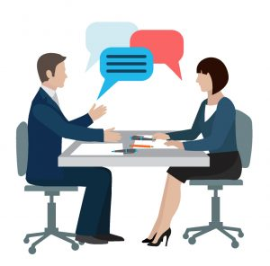 Graphic of man and woman talking at table with conversation bubbles