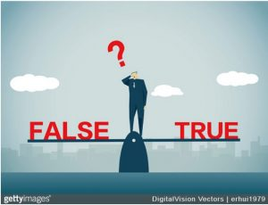 Graphic of man standing on balanced scale with false and true