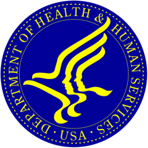 Department of Health and Human Services Seal, blue and yellow