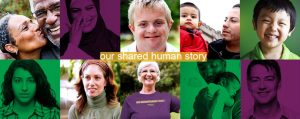 Our Shared Human Story photo collage of multiple people, diverse